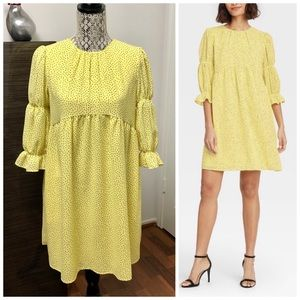 Who What Wear Dash Print Puff Elbow A-Line Dress